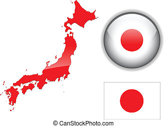 Japan flag, map and glossy button, vector illustration set.