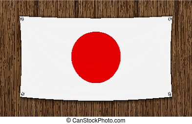japan flag on a dark wood wall background