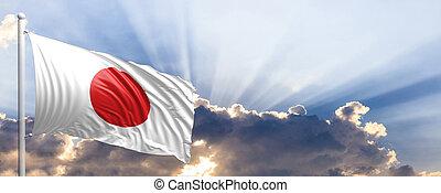 Japan flag on blue sky. 3d illustration