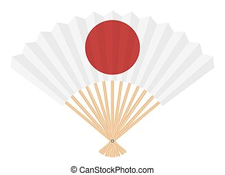 japan flag on fan on a white background
