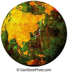 japan flag on globe map