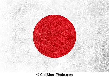 Japan Flag on leather texture