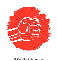 japan flag red sun pain brush hand drawn with clenched raised fist for martial arts, karate, sumo wrestling fight