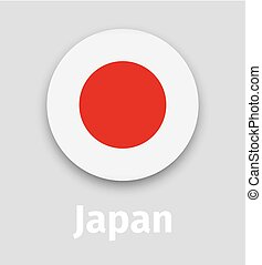 Japan flag, round icon with shadow