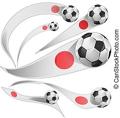 japan flag set with soccer ball