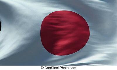 japan flag waving loop