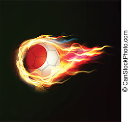 Japan flag with flying soccer ball on fire isolated black background, vector illustration