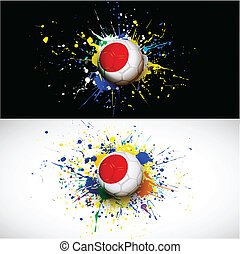 japan flag with soccer ball dash on colorful background, vector