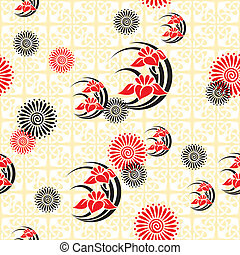 japan floral background - vector seamless background with...
