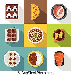 Japan food icon set, flat style