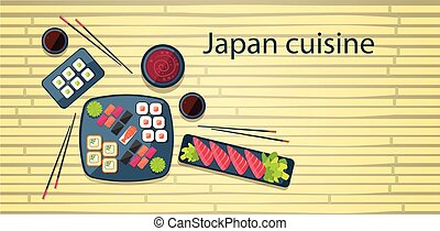 Japan Food Traditional Asian Cuisine Bamboo Background Flat...