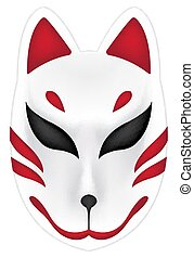japan fox kitsune mask on white background
