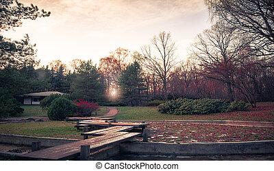 garde - Japan garden at winter sunset
