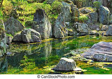 Japan garden with lake