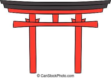 Japan gate icon cartoon
