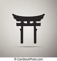 Japan Gate. Torii gate icon on grey background.