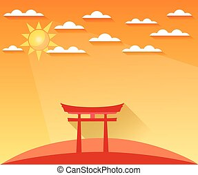 Japan Gate. Torii gate. Shinto. Landscape in a flat style with sun and clouds. Vector illustration of sunrise, sunset. Sight.