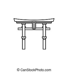 Japan gate Torii icon, outline style - Japan gate Torii icon...