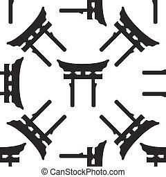 Japan Gate. Torii icon pattern on white background. Adobe...