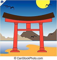 Japan gate torii. Vector. EPS