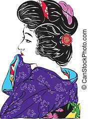 Japan girl,line art ready for your design work