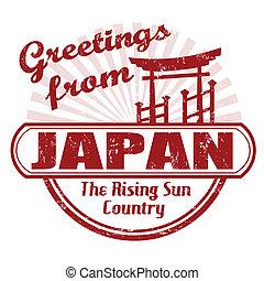 japan, hälsningar, stämpel