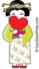 Japan Heart - Lovely Japanese lady in a kimono holding a red...