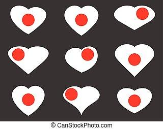Japan. Heart with a Japanese flag. Vector illustration.