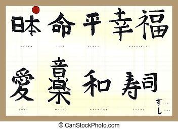 Japan Hieroglyph, Hand drawn Japanese calligraphy. Vector
