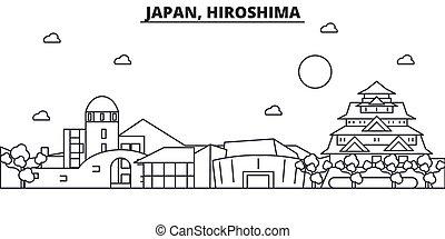 Japan, Hiroshima architecture line skyline illustration....