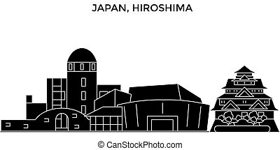 Japan, Hiroshima architecture vector city skyline, travel...