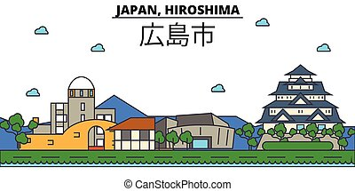 Japan, Hiroshima. City skyline architecture, buildings,...