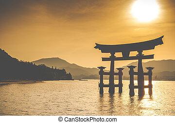 japan, hiroshima, torii, shinto, wasserlandschaft, berühmt, miyajima, stehende , groß