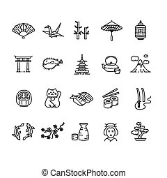 Japan Icon Black Outline Set. Vector