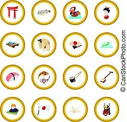 Japan icon circle cartoon isolated vector illustration