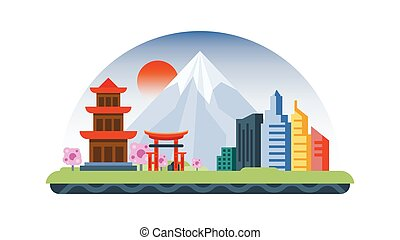 Japan icon in flat style