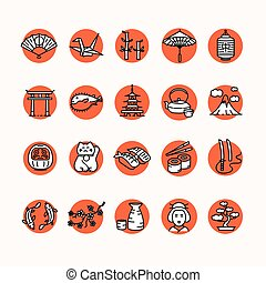 Japan Icon Set. Vector