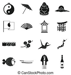 Japan icons set black
