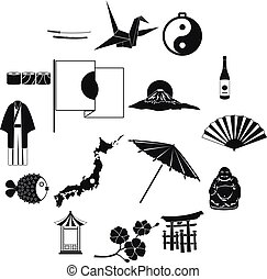 Japan icons set black - Japan icons set in black simple...