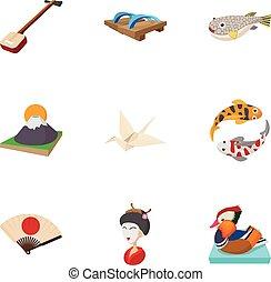 Japan icons set, cartoon style - Japan icons set. Cartoon...