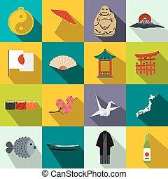 Japan icons set flat - Japan icons set in flat style...