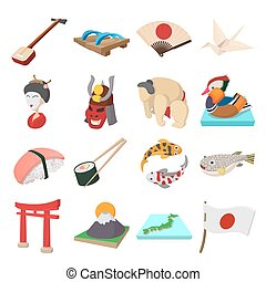 Japan icons set in cartoon style isolated on white...