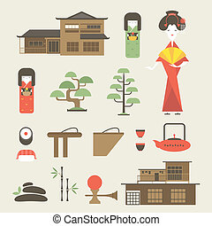 Japan icons - Vector set of various stylized Japanese icons