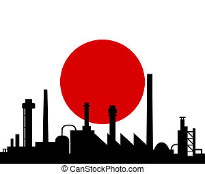 japan, industrie, vlag