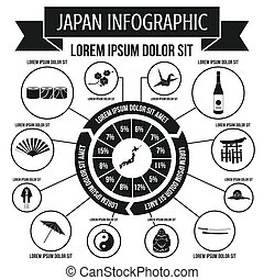 Japan infographic elements, simple style