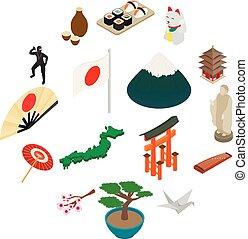 Japan isometric 3d icons set isolated on white background