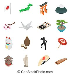Japan isometric 3d icons