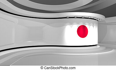Japan. Japanese flag background. TV studio. News studio. The perfect backdrop for any green screen or chroma key video or photo production. 3d render. 3d