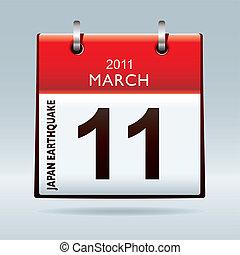 japan, kalender, aardbeving, pictogram