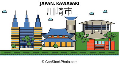 Japan, Kawasaki. City skyline architecture, buildings, streets, silhouette, landscape, panorama, landmarks. Editable strokes. Flat design line vector illustration concept. Isolated icons set